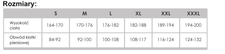 tabela rozmiarów oxychem